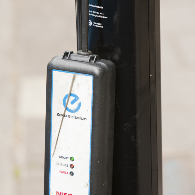 """""""An electric car recharging station on the street in Berkeley Square, London, UK."""" stock image"""