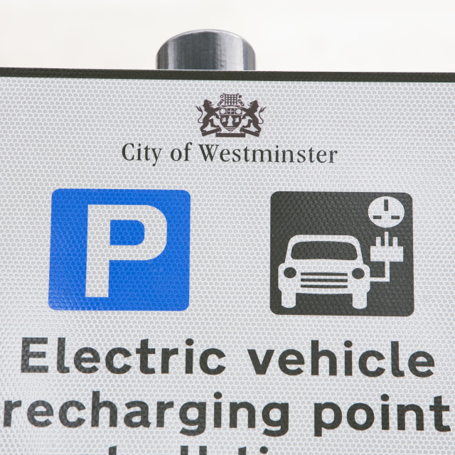 """""""A sign for electric car recharging stations on the street in Berkeley Square,..."""" stock image"""