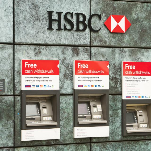 """""""HSBC ATM's in London, UK."""" stock image"""