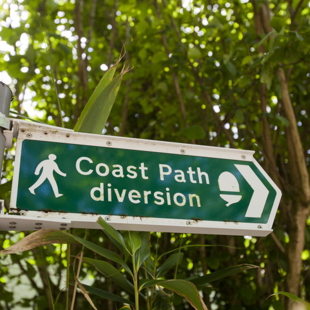 """""""A sign about a diversion due to landslips on the South West Coast Path..."""" stock image"""