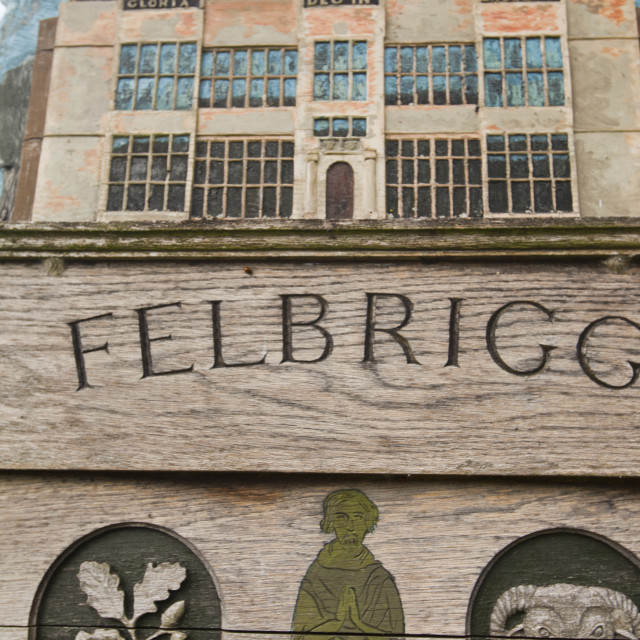 """A traditional wooden village sign for Felbrigg village in Norfolk, UK."" stock image"