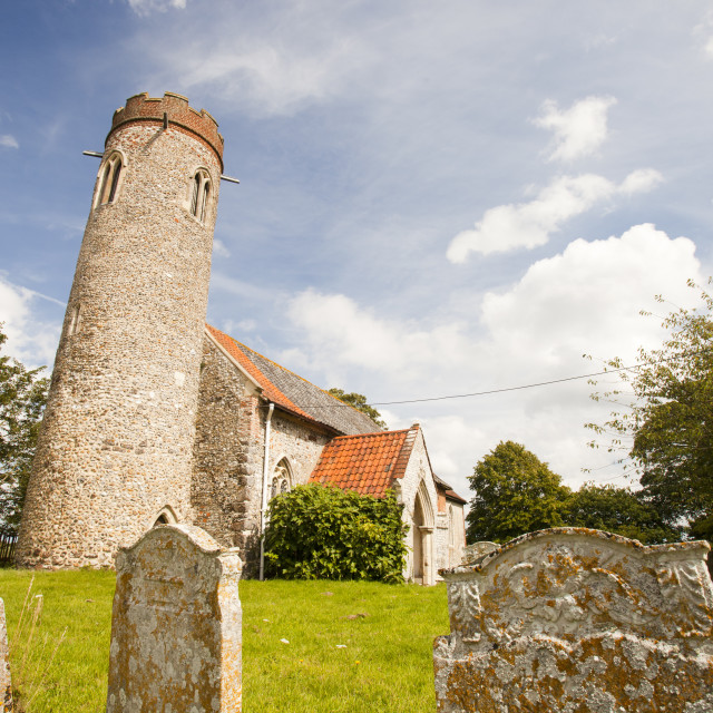 """""""St Peter and Pauls church in Sustead, Norfolk, UK, is an ancient saxon round..."""" stock image"""