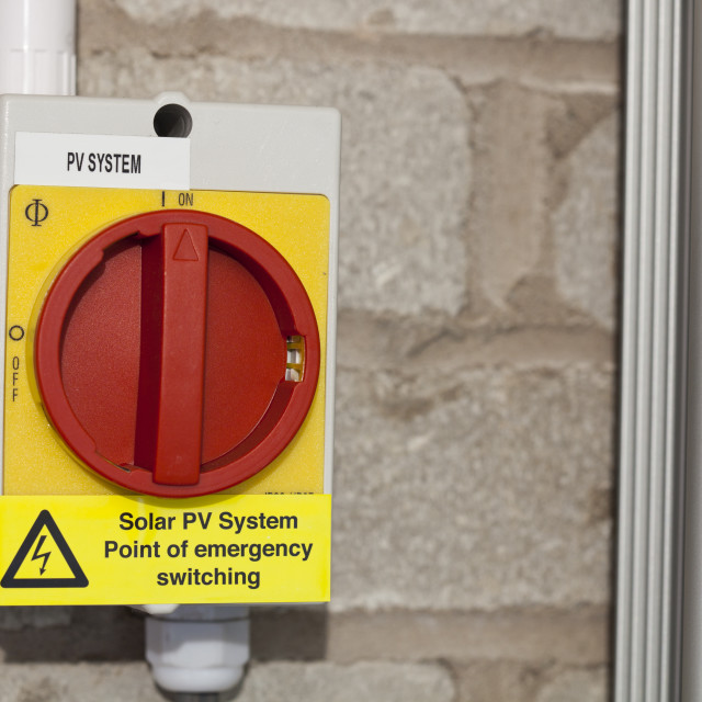 """""""An emergency switch unit on a household solar panel power system."""" stock image"""