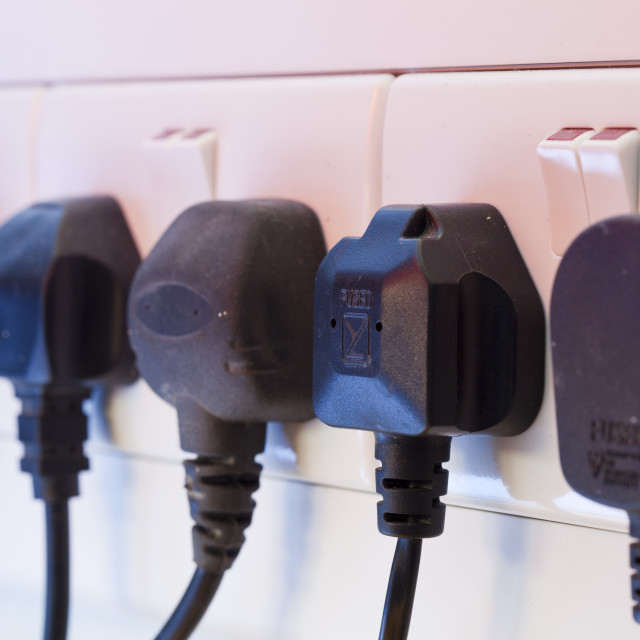 """""""A row of electric sockets."""" stock image"""