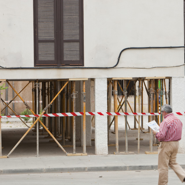 """""""On the 11th May 2011, a magnitude 5.1 earthquake struck Lorca in Andalucia,..."""" stock image"""