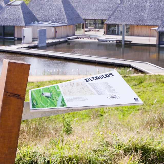 """""""The Brockholes visitor centre at the Lancashire Wildlife Trust reserve in..."""" stock image"""
