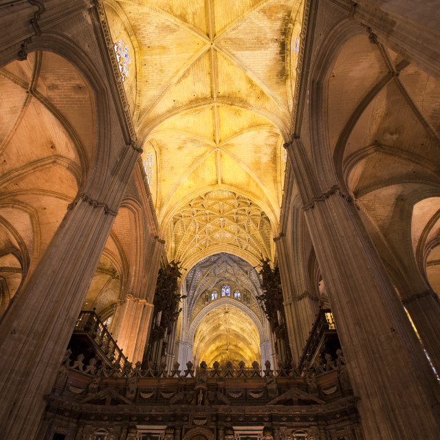 """The interior of Seville Cathedral, the largest Cathedral in Spain, finished..."" stock image"