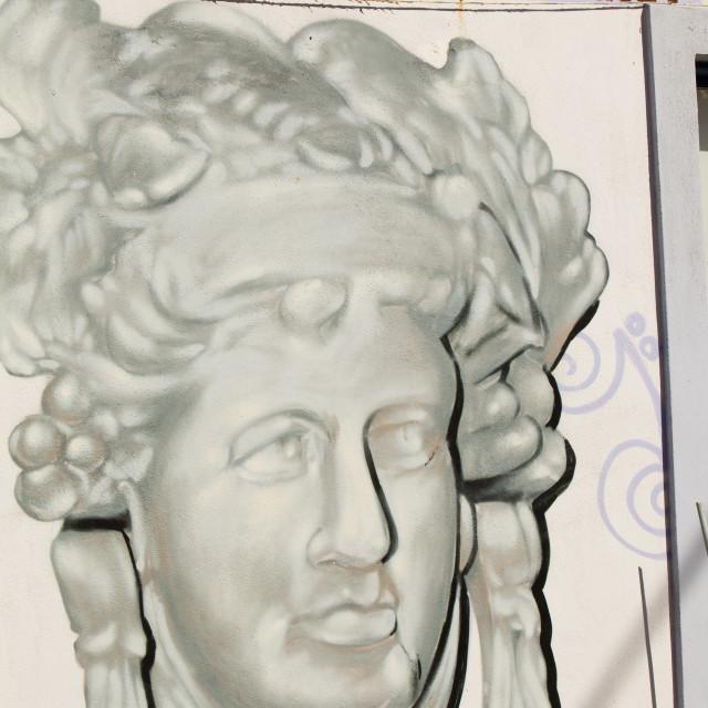 """A painting of Sapho the poet at Skala Eresou on Lesbos, Greece."" stock image"