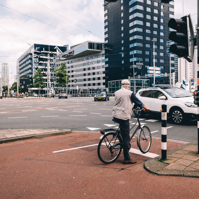 """Rotterdam cityscape and car traffic in a crossroads."" stock image"