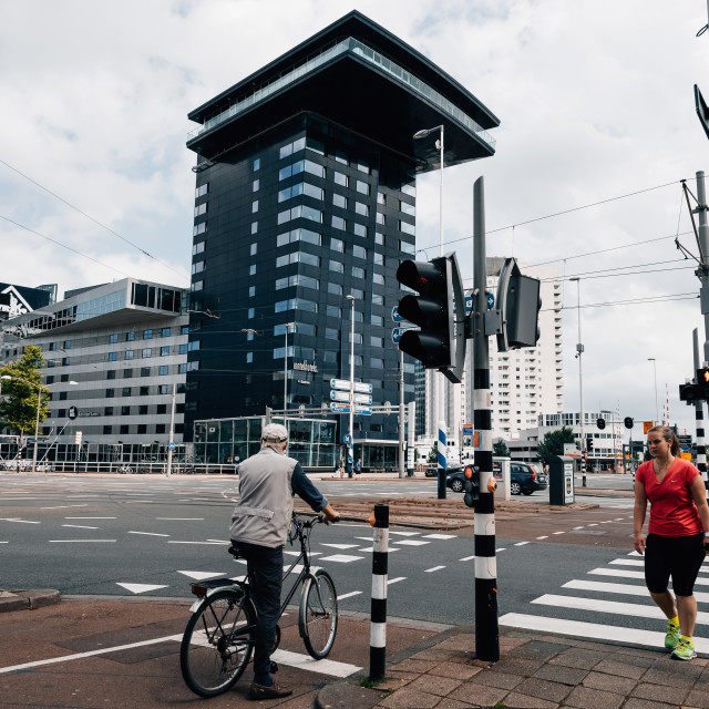 """Rotterdam cityscape car traffic in a crossroads."" stock image"
