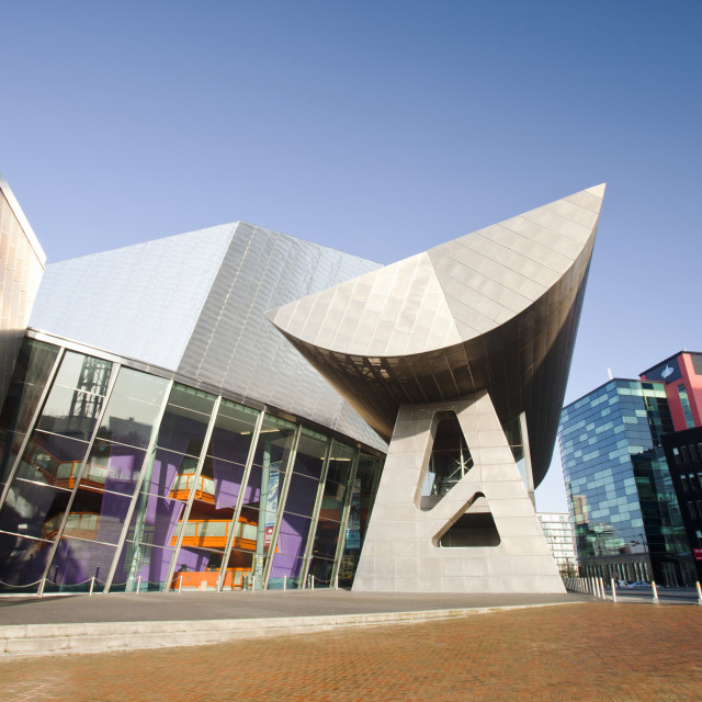 """The Lowry Theatre at Salford Quays, Manchester, UK."" stock image"