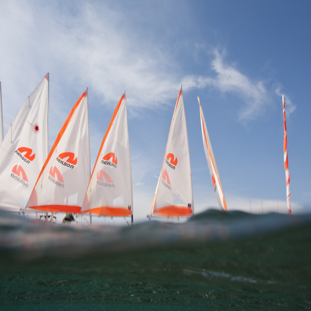 """""""Sailing boats on the beach at an activity holiday centre in Skala Eresou,..."""" stock image"""