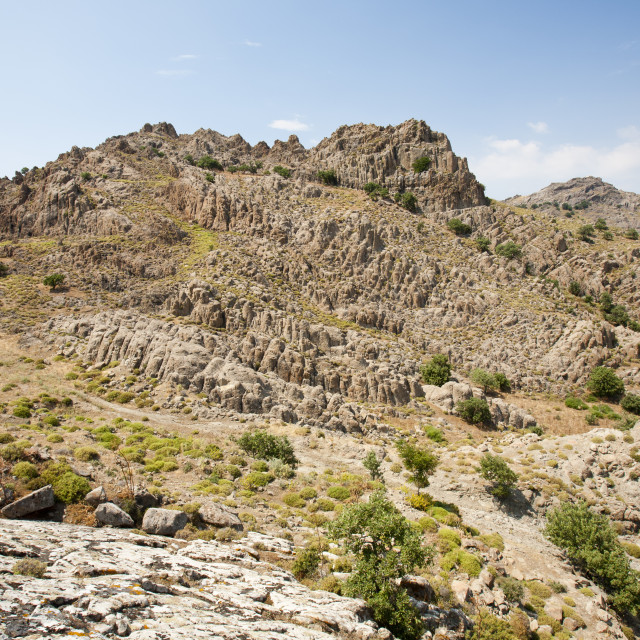 """Barren rocky hillsides near Skala Eresou, on Lesbos, Greece."" stock image"