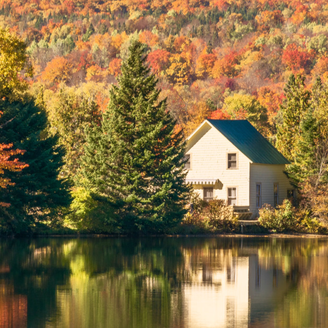 """Fall reflections in Vermont"" stock image"