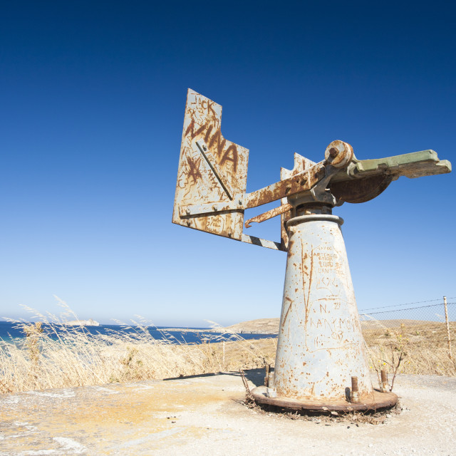 """""""A gun emplacement on the coast at Sigri on Lesbos, Greece, a sign of the..."""" stock image"""
