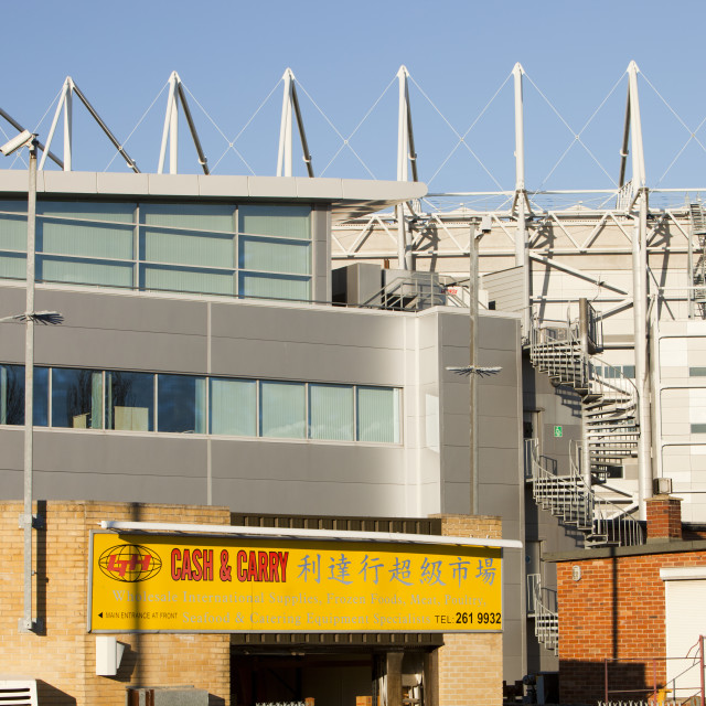 """""""A Chinese cash and carry in front of Newcastle United football ground,..."""" stock image"""