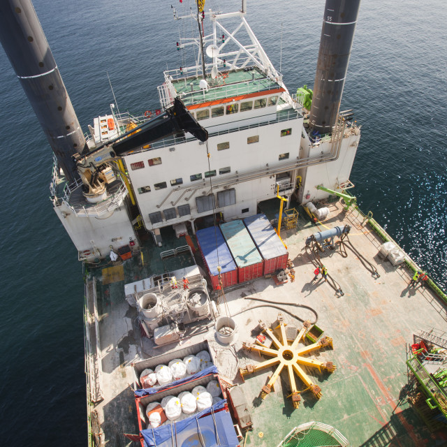 """""""The view onto the deck of the jack up barge, The Goliath from the top of a..."""" stock image"""
