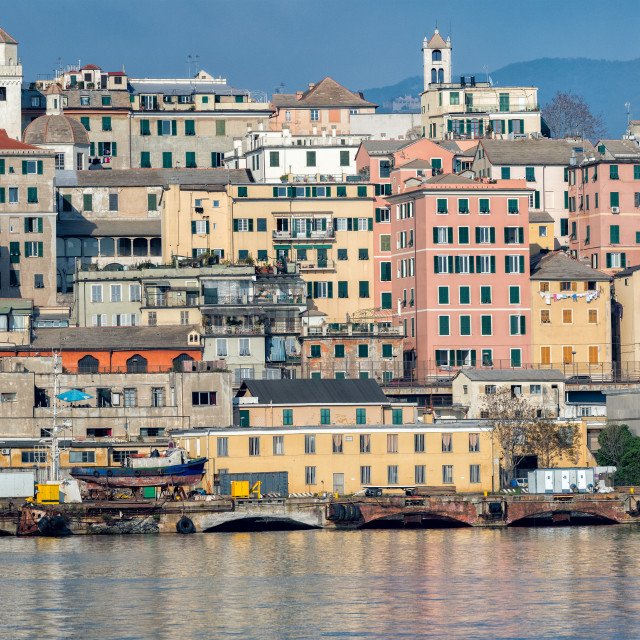 """genoa town cityscape panorama from the sea harbor"" stock image"