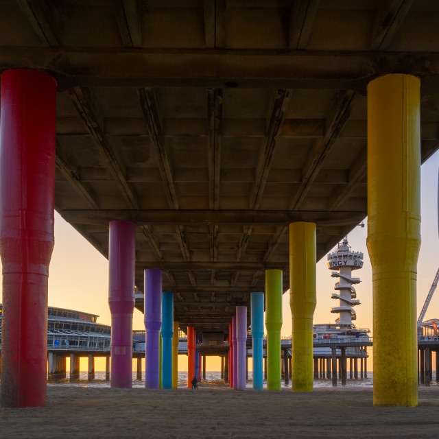 """Underneath the Pier of Scheveningen"" stock image"