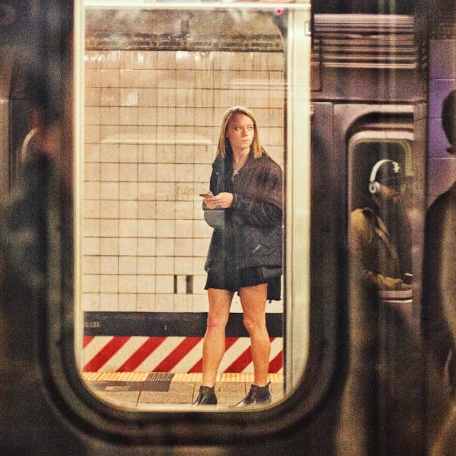 """Girl On T Platform"" stock image"
