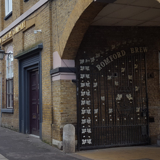 """Romford Brewery Gate"" stock image"