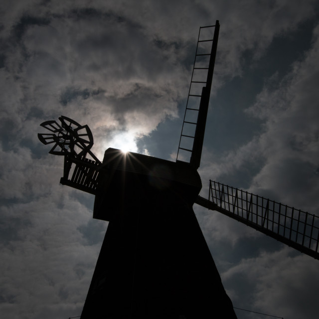 """Rayleigh Windmill in Silhouette"" stock image"