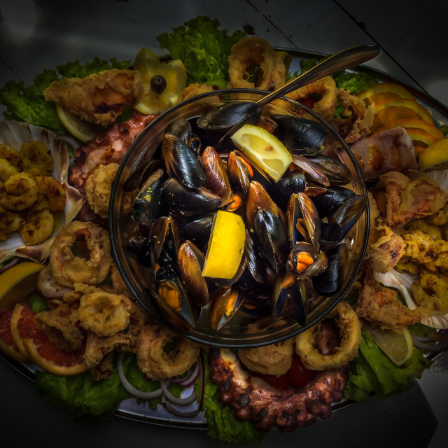 """Plateau with squid, octopus, mussels and shrimps"" stock image"