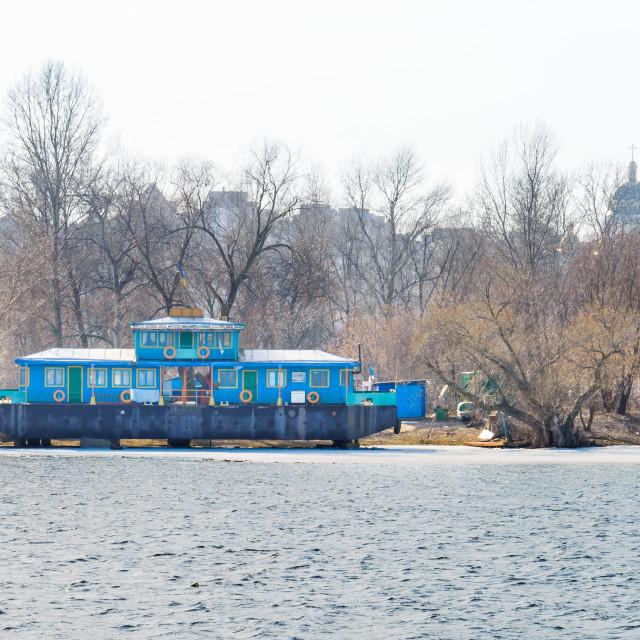 """Houseboat on the Dnieper River in Kiev, Ukraine"" stock image"