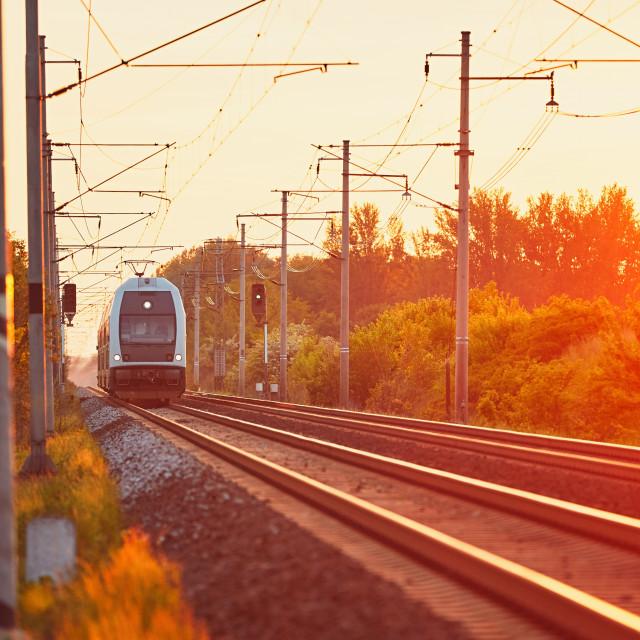 """""""Railway at the amazing sunset"""" stock image"""