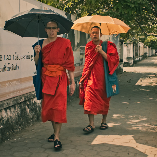 """Shaded Laotian Monks"" stock image"