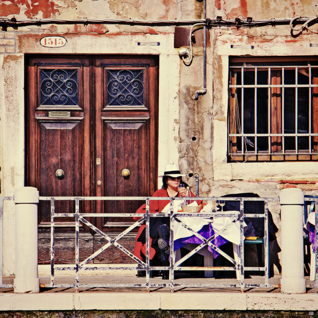 """""""Venice, tourist woman sipping wine outdoor"""" stock image"""