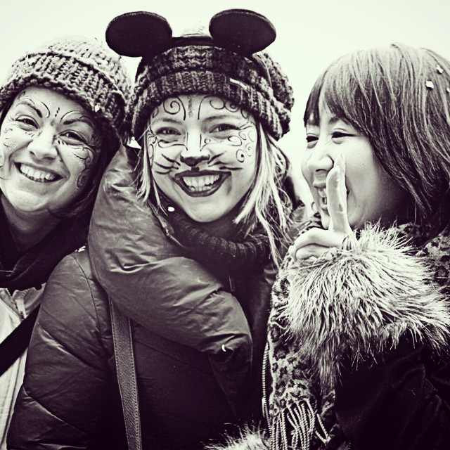 """""""three girls with mouse make up have fun at Venice Carnival,"""" stock image"""
