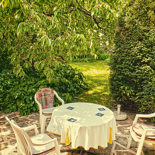 """""""Table and seats in the garden under cherry tree"""" stock image"""