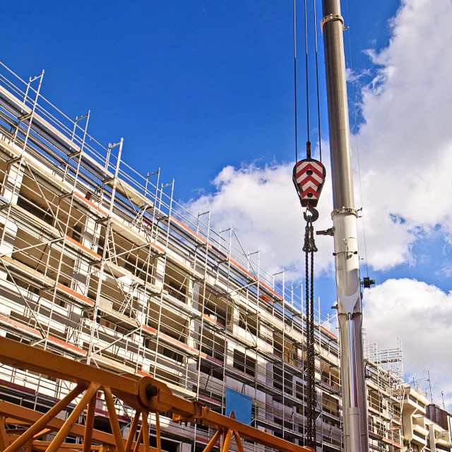 """""""Building under construction in center Munich, real estate market grows..."""" stock image"""