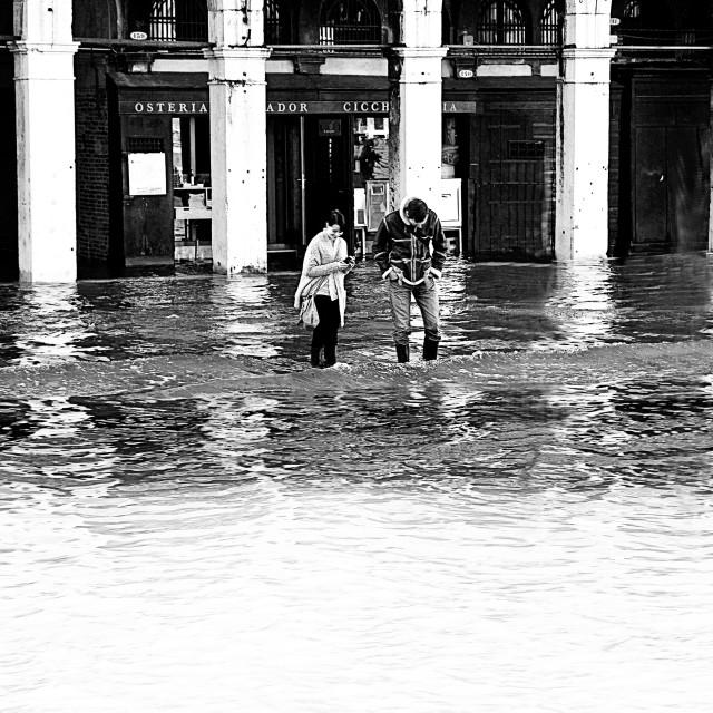 """Venice, high water at Rialto market"" stock image"