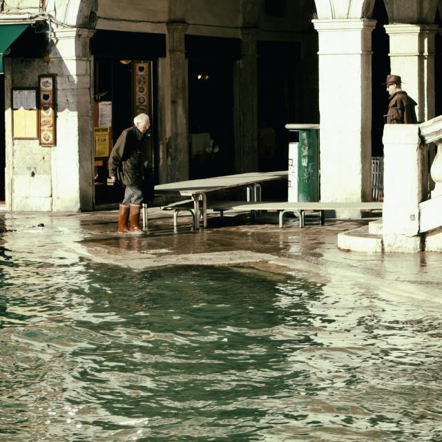 """High water in Rialto, Venice"" stock image"