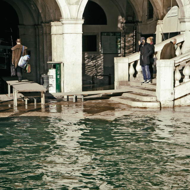 """High water in Venice at Rialto Bridge"" stock image"