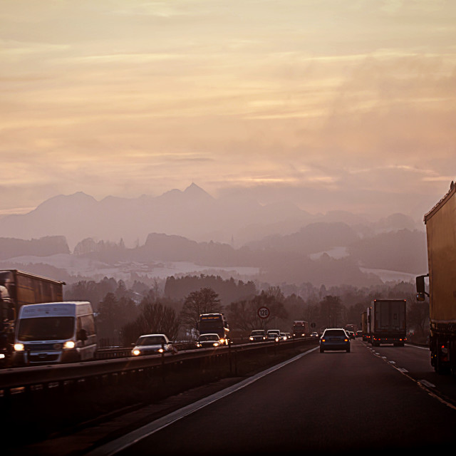 """""""Salzburg, Austria- High traffic as usual on the highway to Munich in a cold..."""" stock image"""