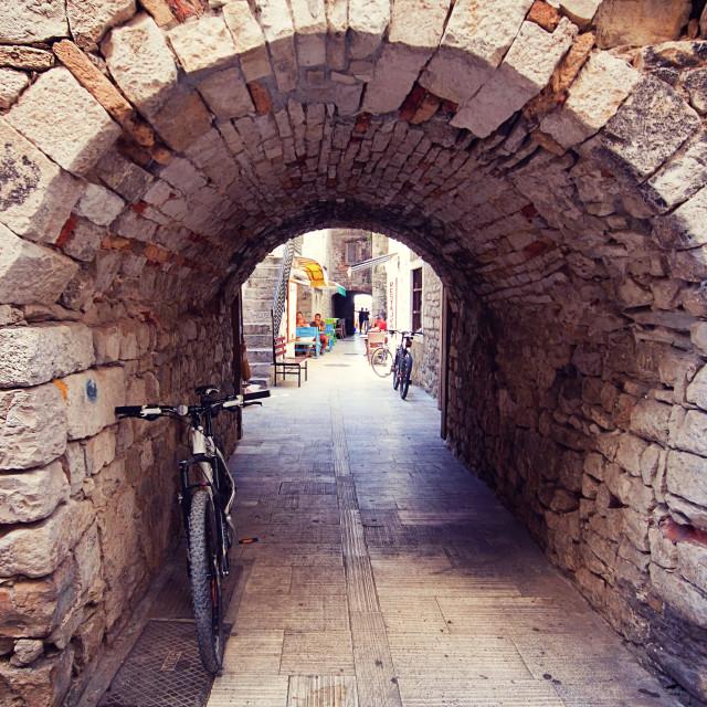 """Trogir Croatia - stone portal in old town"" stock image"