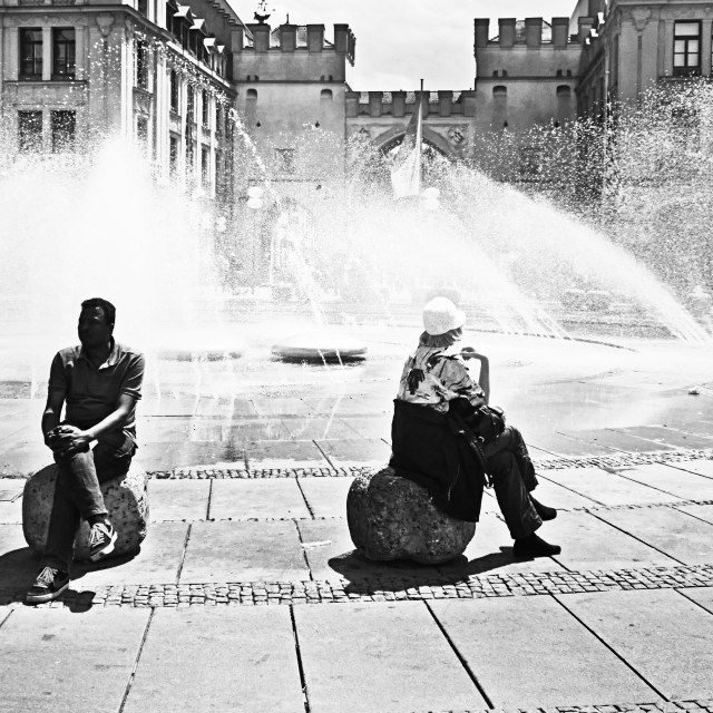 """""""Summertime, people at the fountain at Karlsplatz-Stachus in Munich"""" stock image"""