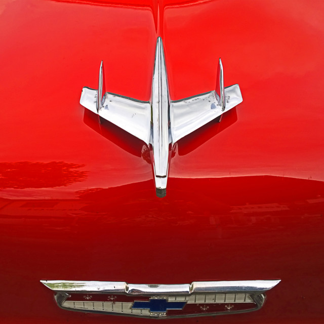 """""""Vintage chevrolet red engine hood with logo"""" stock image"""