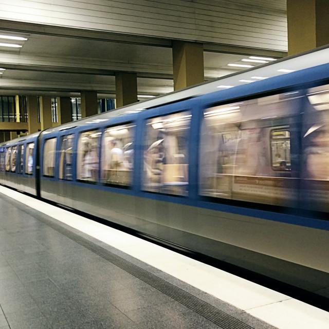 """Underground train leaving the station"" stock image"