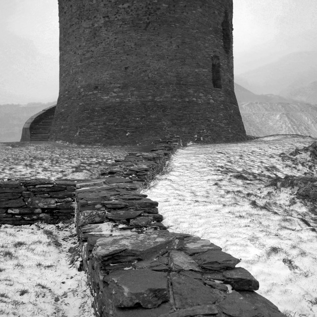 """Winter Snow, Dolbadarn Ruined Castle, Llanberis town, Pass of Llanberis,..."" stock image"