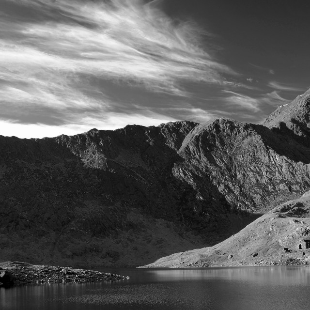 """Male Walker, Mount Snowdon Summit, Llyn Llydaw, Snowdonia National Park,..."" stock image"