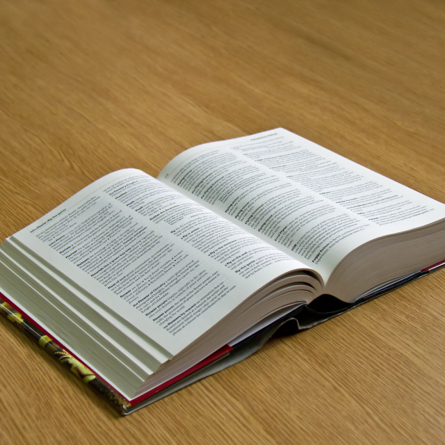 """""""Dictionary with pages open"""" stock image"""