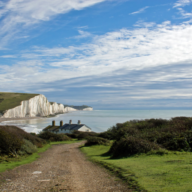 """Seven Sisters and Coastguard Cottages"" stock image"