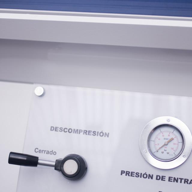 """Hyperbaric oxygen tank chamber"" stock image"