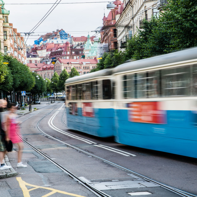 """Moving tram in Sweden"" stock image"