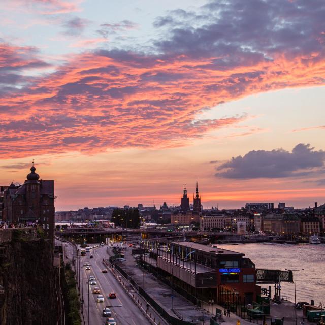 """""""Sunset over Stockholm, Sweden"""" stock image"""