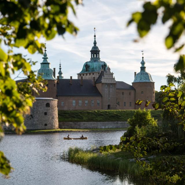 """Boat ride next to Kalmar Castle, Kalmar, Sweden"" stock image"